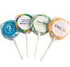 CONF-135-BW Medium Candy Lollipop with sticker adhered to wrapper.